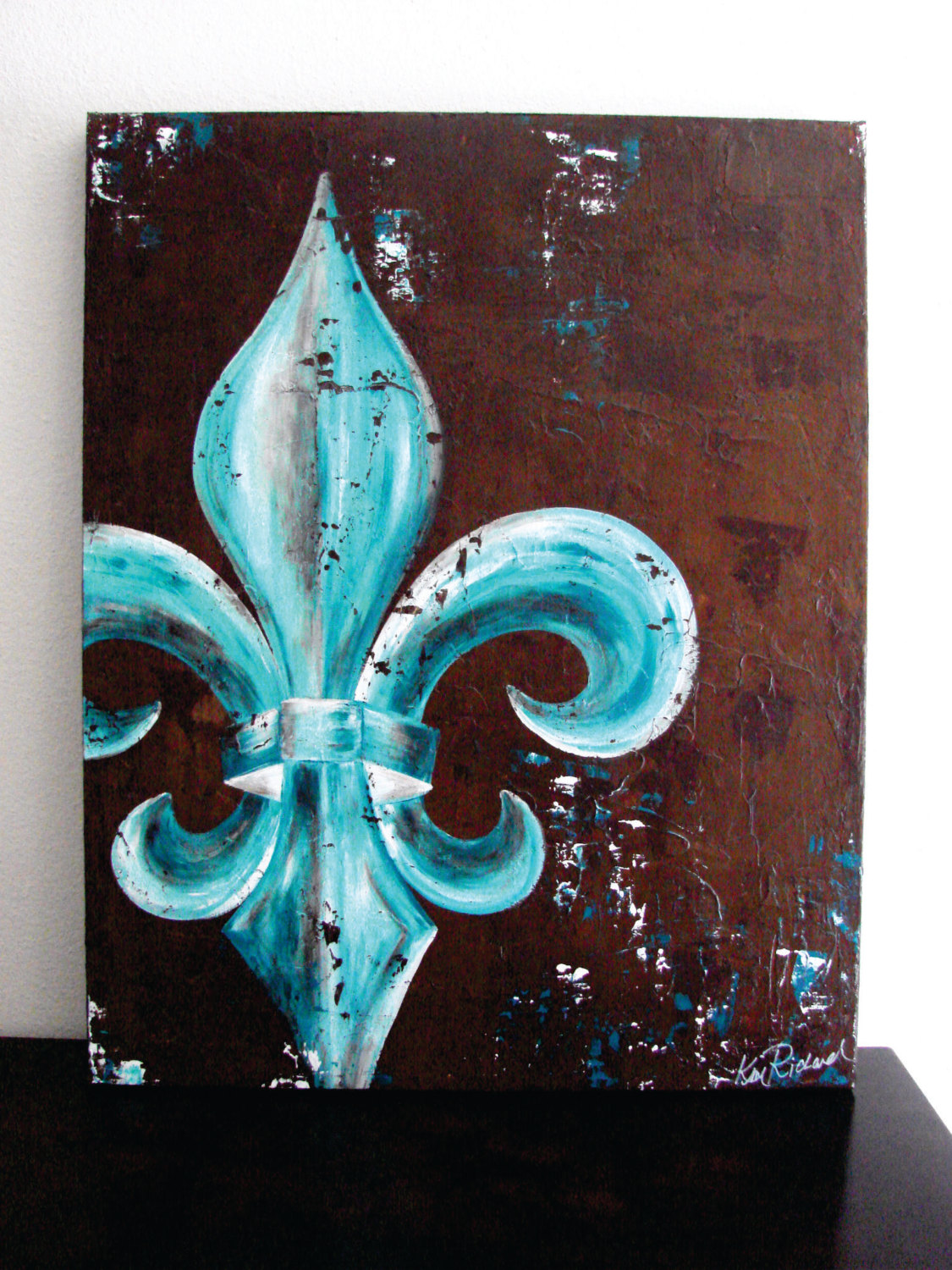 24x30 fleur de lis original painting on canvas peacock - Fleur paint ...
