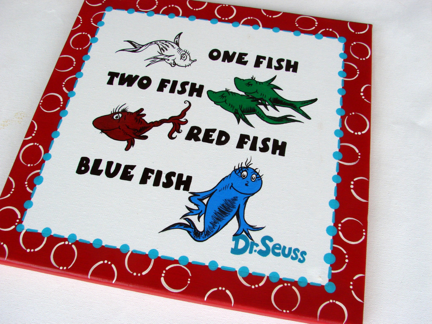 one fish two fish red fish blue fish hand painted dr. Black Bedroom Furniture Sets. Home Design Ideas