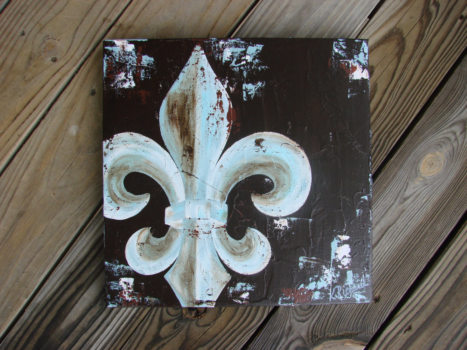 Fleur de lis original painting on canvas lou and elle - Fleur paint ...