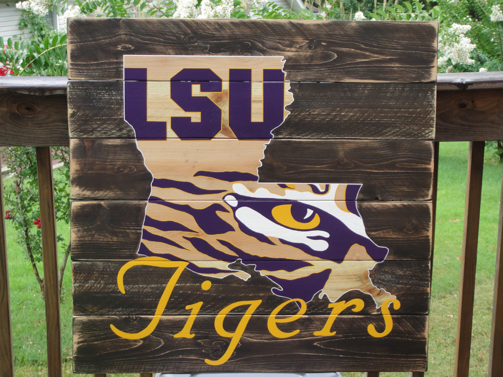 Lsu Tiger Eye Wood Sign 36 Quot X36 Quot Reclaimed Wood Original
