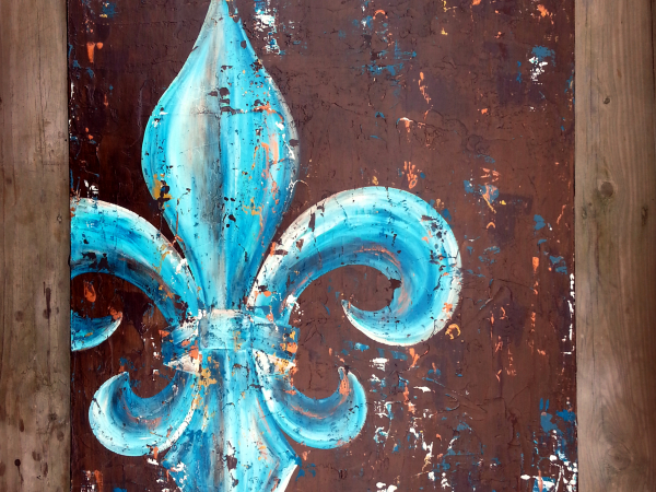 Fleur De Lis Original Painting On Canvas Peacock Teal