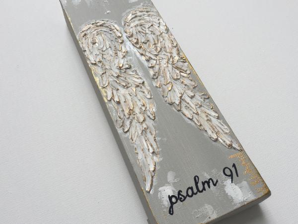 Angel wings texture painting on wood 2