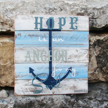 hope, anchor, nautical, pallet sign, pallet art