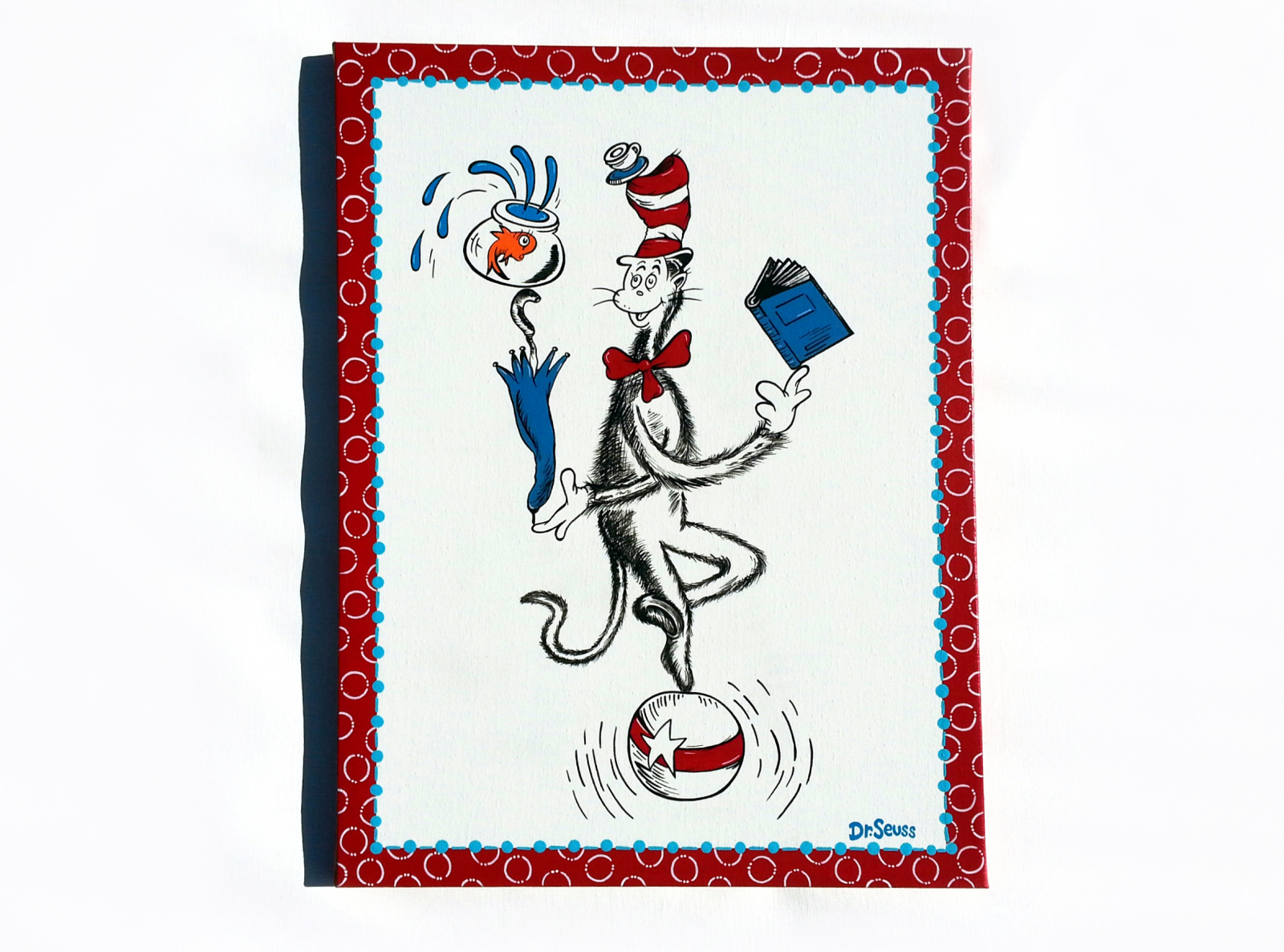 dr seuss hand painted canvas cat in the hat balancing on. Black Bedroom Furniture Sets. Home Design Ideas