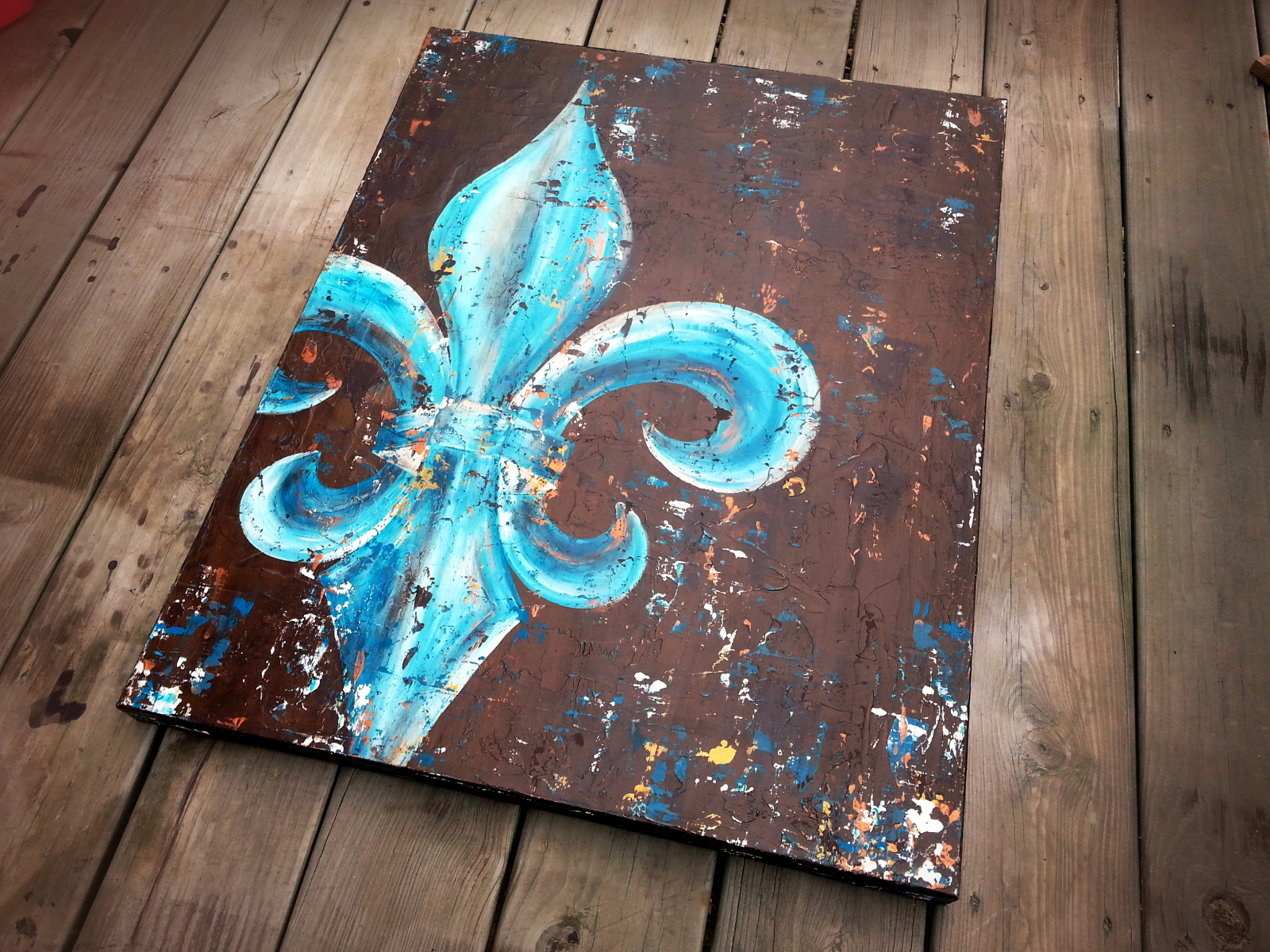 Fleur de lis original painting on canvas peacock teal - Fleur paint ...