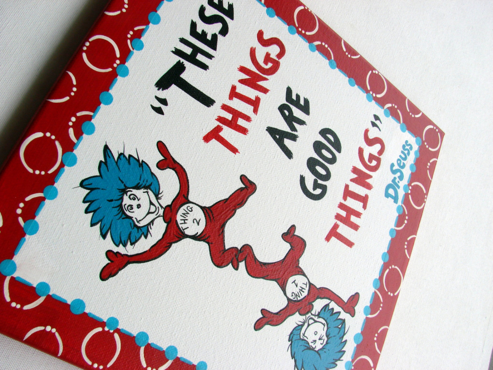 thing 1 and thing 2 canvas dr seuss these things are. Black Bedroom Furniture Sets. Home Design Ideas