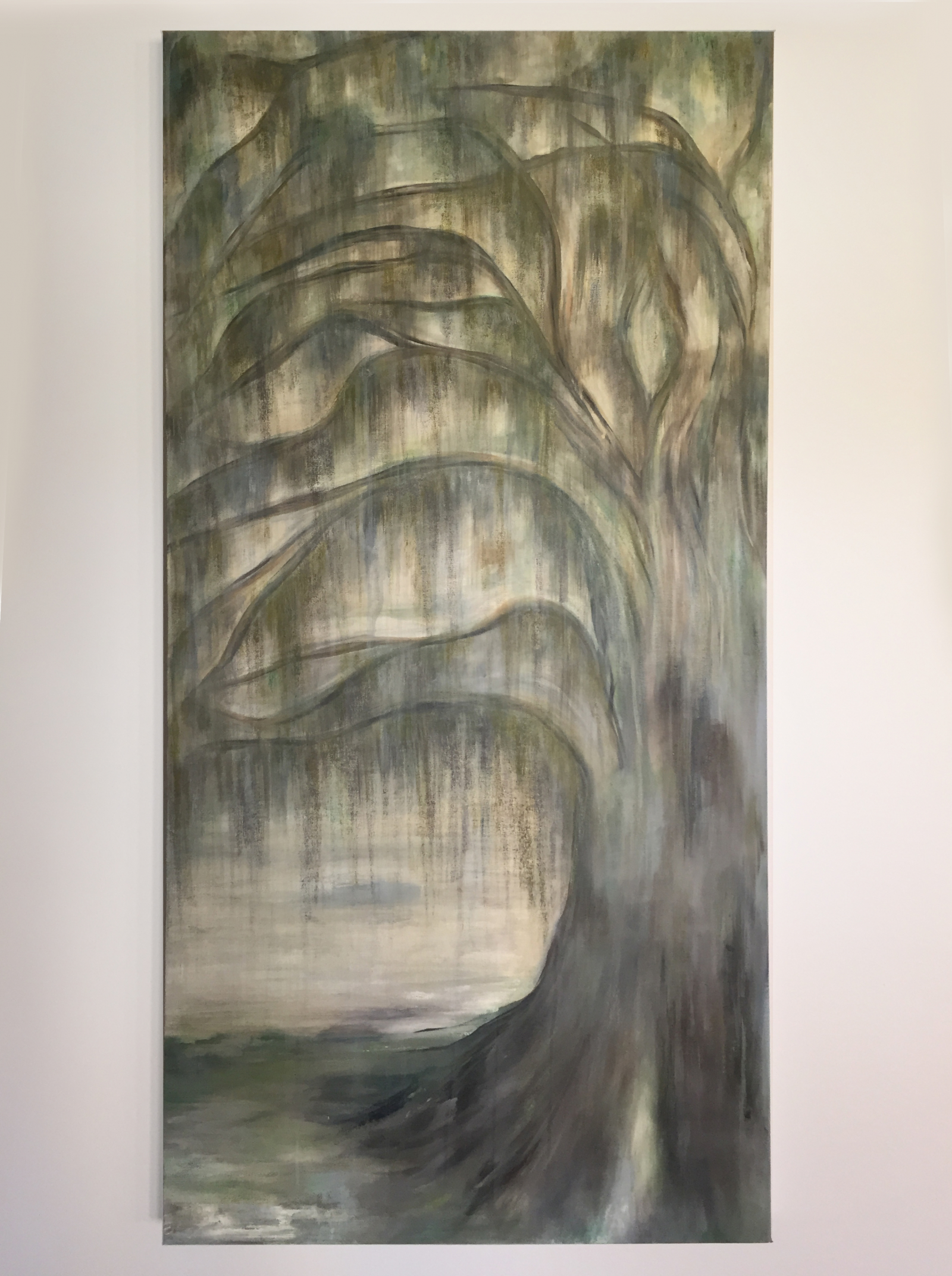 Mossy Oak, Tree Painting on Canvas, 24x48,   Lou and Elle