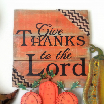 Give Thanks to the Lord wood sign, reclaimed wood, handpainted, Brown gold and orange, harvest, thanksgiving, wall hanging