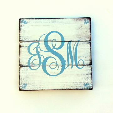 Monogram, hand painted, distressed wood plank, blue letters with antique white and bronze distressed paint finish