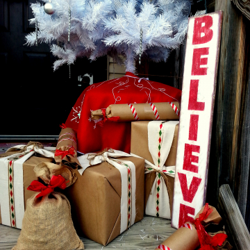 BELIEVE Christmas Sign 6x36, distressed red and white wood