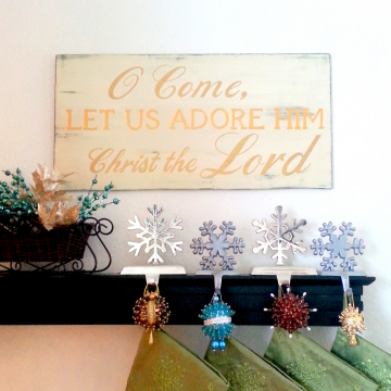 O Come Let Us Adore Him, Wood Christmas Sign, distressed with gold letters