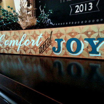 Comfort and Joy Christmas sign, green & blue, distressed, hand painted