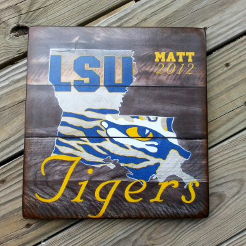 Custom LSU distressed wood plaque with name and date