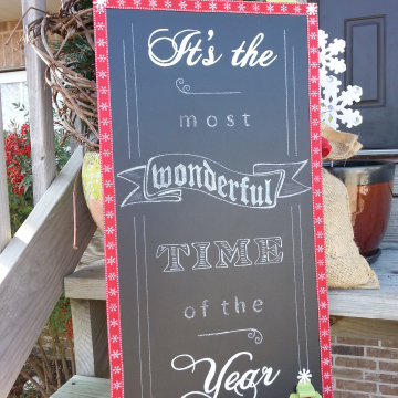 "Chalk board Christmas sign,  It's the most wonderful time of the year, 12""x24"""