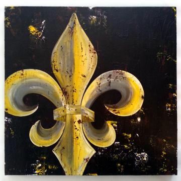 Fleur de Lis Original Painting on Canvas 24x24 Mustard