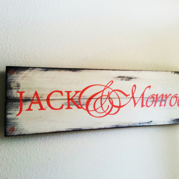 Husband and wife name, hand painted, distressed wood plank, coral lettering with antique white and bronze distressed paint finish