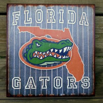 FLORIDA Gators distressed wood plaque, 12x12, originial design, gift, football, wood sign