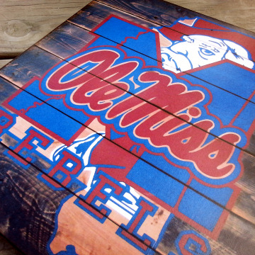 Ole Miss Mississippi Rebels distressed wood plaque, 12x12, originial design, gift, football, rebels, wood sign