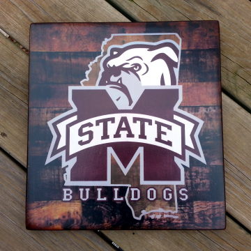Mississippi State Bulldogs distressed wood plaque, 12x12, originial design, gift, football, rebels, wood sign