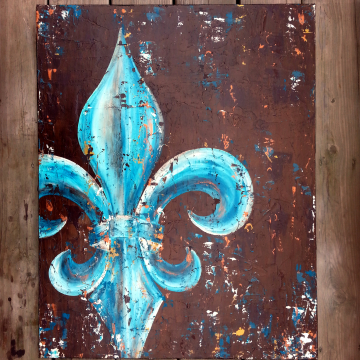 Fleur de Lis original painting on canvas peacock teal & gold 24x30