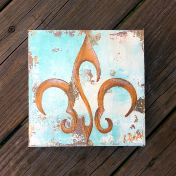 Gold, Cream and Mint Fleur de Lis painting 6x6