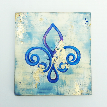 "The Fleur de Lis ""Gold Series"" by Kim Richard Original Painting on Canvas 12x12, #1"
