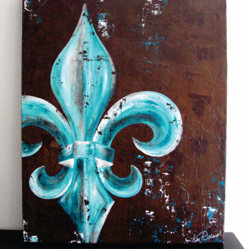 24x30 Fleur de Lis original painting on canvas peacock teal