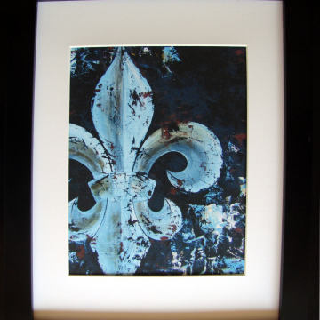 Art Print from Original Fleur de Lis oil knife painting blue & brown