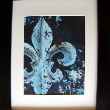 Art Print from Original Fleur de Lis oil knife painting blue & brown