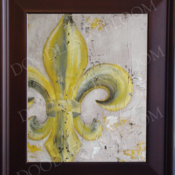 Fleur de Lis original art print oil knife painting khaki & mustard 8x10