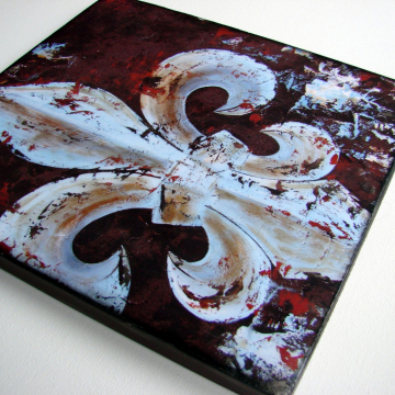 Original Fleur de Lis knife painting reproduction with painted accents on wood