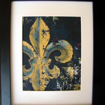 Fleur de Lis Art Print from Original oil knife painting mustard & brown 8x10