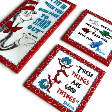 Set of Cat in the hat, fish, thing one and thing two - hand painted - dr seuss canvas - 12x24 and 12x12