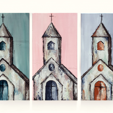 "Church painted on wood, Heavy Texture Painting 8""x16"", hand painted on wood"