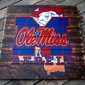"""Ole Miss Rebels Mississippi wood sign 36""""x36"""", reclaimed wood, Original Design, Mississippi Ole Miss, wall art, wood sign, pallet sign"""
