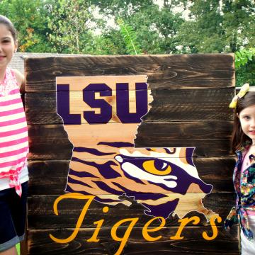 "LSU Tiger Eye wood sign 36""x36"", reclaimed wood, Original Design, Louisiana State, wall art, wood sign, pallet sign, pallet art"