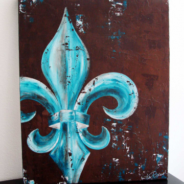 Fleur de Lis original painting on canvas peacock teal 24x30