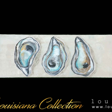 Oyster Shell Triplet, hand painted, silver leafing, 4x12