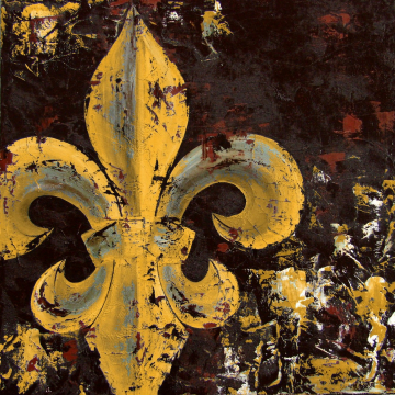 Fleur de Lis Original Painting on Canvas 14x14 Mustard