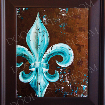 Fleur de Lis Art Print from Original Painting peacock teal colors