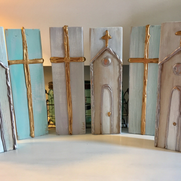 """Textured Church and Cross on painted aged wood, Heavy Texture Painting 4""""x12"""", hand painted"""