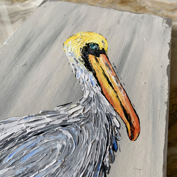 """Pelican painting, heavy texture, hand painted, 8""""x14"""""""