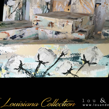 """Cotton Knife Painting, The Louisiana Collection, 4""""x12"""""""