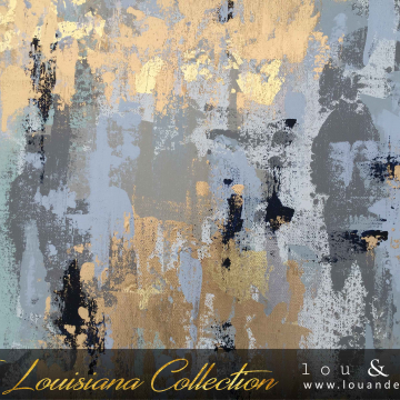 """Gold Lights of Louisiana Knife Painting, The Louisiana Collection, 20""""x20"""""""