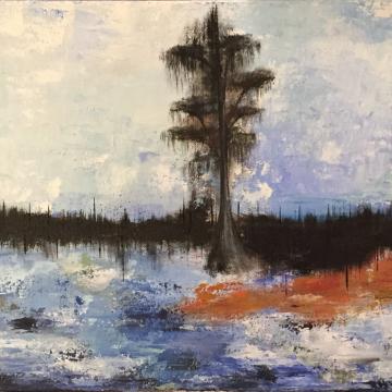 Original Louisiana Waterscape Knife Painting 12x36