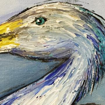 Original Blue Heron knife painting 24x24