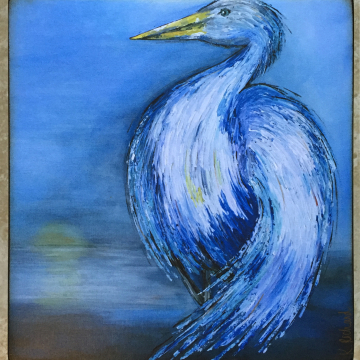 Original Blue Heron knife painting reproduction on wood