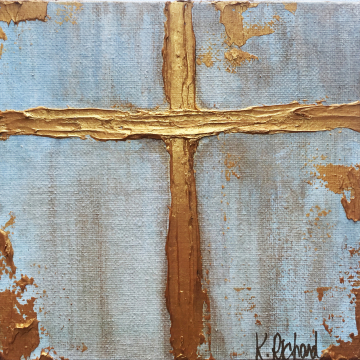 "Gold Cross Knife Painting 6""x6"", gold leafing, hand painted"