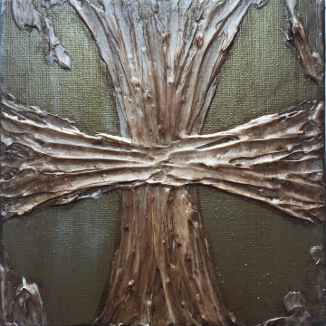 "Aged Bronze Cross Knife Painting 6""x6"", hand painted"
