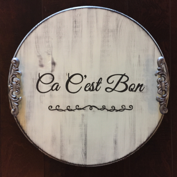 "Decorative Serving Platter, Ca C'est Bon, 18"", hand painted"